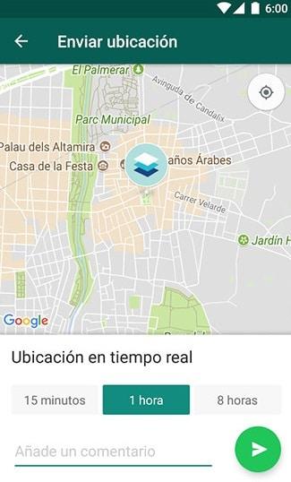 tiempo ubicación wasap